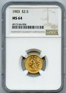 1903 $2.5 Liberty Head Quarter Eagle Gold Coin NGC MS 64