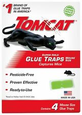 Tomcat Super Hold Glue Traps 4 pack Mouse Size Traps, Capture Mice - MADE in USA