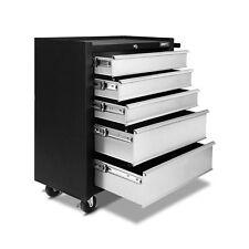 5 Drawers Roller Toolbox Cabinet Black Grey Mechanic Tools Storage