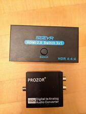 SGEYR HDMI 2.0 Switch Splitter 3 Port 4K & Prozor Digital Analog Audio Converter