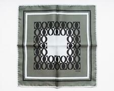 Tom Ford New Shimmery Green Black Geometric Pattern 100% Silk Pocket Square