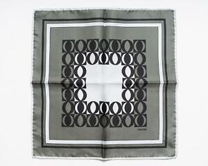 Tom Ford New Shimmery Green Black Geometric Pattern 100% Silk Pocket Square