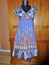 101 IDEES Denim Print Jersey Embroidery Empire waist Summer Resort DRESS B76
