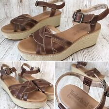 Womens 4.5 Wedges Sandals Timberland Earthkeepers Leather Tan Slingback Shoes