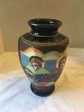 "Moriage Satsuma Japan Gold Gilt Vase w/COBALT BLUE HAND Painted FACES-9"" HIGH"