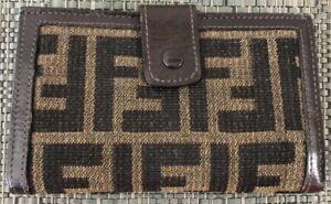 Vintage Authentic Fendi Wallet Zucca Monogram Brown Leather PVC canvas coated