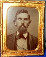 1/9th Size Tintype of Younger man in Brass mat/frame