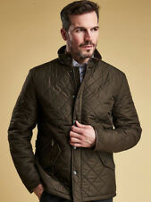 Barbour International Mens Powell Quilted Jacket in Khaki Large