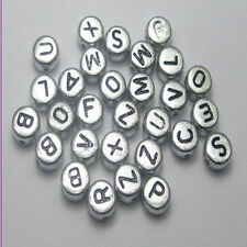wholesale 100-1000pcs 4x7mm Mixed Alphabet/Letter Coin Round Flat Spacer Beads