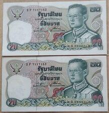 Thailand 20 baht cons pair 2F 7117182 - 183  P.88 19£1 aunc