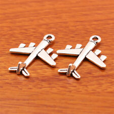 7165# 40 Piece 3D Plane Charm Tibetan silver DIY Jewelry Necklace Bracelet 27mm
