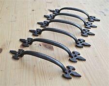 SET OF 6 GOTHIC FLEUR DE LYS END CAST IRON DOOR HANDLE DRAWER PULL WH35