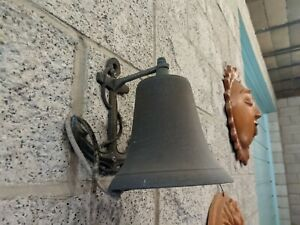 Vintage Wall Mount Bronze or Brass Ship Bell with Anchor Nautical Maritime