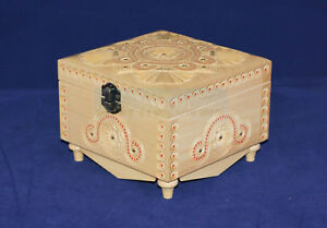 White Wooden Jewelry Box Case Hand Carved Handmade Square Jewel-case Organizer