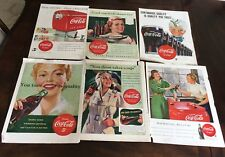 Vintage Coca Cola Mag Ads LOT of 6 1940's -1950's Antique Coke Machine Ads #1