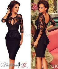 Ladies Womens Dress Black Midi Bodycon Party Floral Lace Celeb Long Size 12 14 M