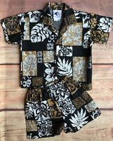 Hawaiian set size 18 Months Boys Top Shorts Black Brown Floral Shirt Authentic