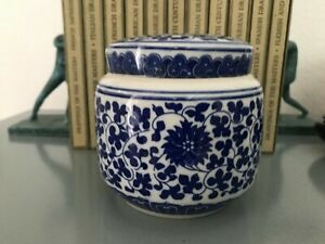 "Blue and White  Porcelain Ginger Jar 4.5"""