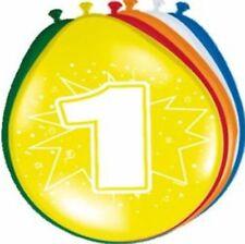 Folat 8201 8 Bunte Luftballons zum 1. Geburtstag 1 Jahr