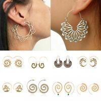 Boho Spiral Brass Gypsy Earrings Tribal Ethnic Festival Jewelry Fashion Hoops