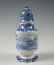 Antique Blue Staffordshire Transferware Pepper Pot Circa 1835
