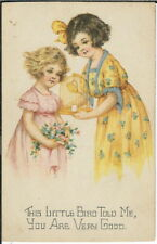 BA-455 Little Bird Told Me You Are Very Good, Two Girls, 1915-1930 Postcard