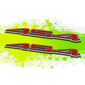 X2 Chrome Red Corvette 454 LS6 Metal Bumper Trunk Grill Emblem Decal Logo Badge