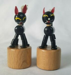 x2 Vintage Wood Collapsible Black Cat Thumb Push Button Puppet Toy Italy