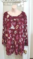 Womens Investments Red Wine Burgundy Flower Dressy Blouse Top 2x 18 20 plus