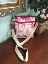 Coach Crossbody Bag Sateen Horse & Carriage Pink Patent Leather Orange 43813 B4