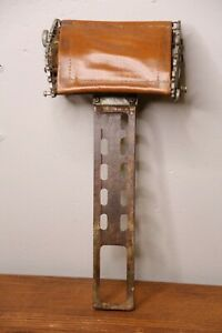 Koken antique barber chair headrest with Leather Pat. 1910 President Triumph