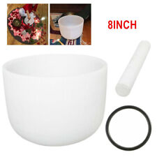 8inch F Note Frosted  Heart Chakra Quartz Crystal Singing Bowl with Mallet NEW