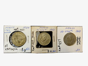 Lot Of 3 Impressive Mexico 50 Centavos 1920/51/69