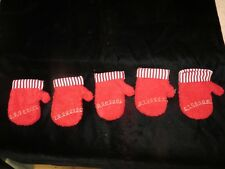 5 Red Mittens Christmas Decorations - Red with Striped Cuff - Crafts - Starbucks