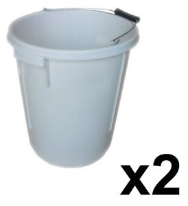 2 x 25L PLASTERERS MIXING BUCKETS 25 LITRE PLASTERING BUILDERS WATER TUB HANDLE