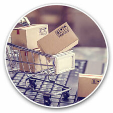 2 x Vinyl Stickers 30cm - Online Shopping Trolley Funny Cool Gift #21966
