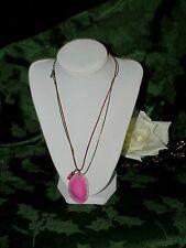 Rose Pink Quartz Slab Polished Pendant Murano Glass Leaf Healing Necklace Chakra
