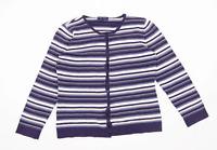 Tulchan Womens Size M Striped Cotton Blue Button Up Cardigan (Regular)