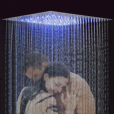 "16"" LED Rain Bathroom Shower Head Square Ceiling Mount Top Spray Stainless Steel"