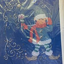 "Creative Circle # 2447 Kit Jack Frost Counted Cross Stitch Elf 8x10"" 1988 Vtg"