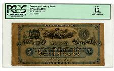 Paraguay … P-S184 … 5 Pesos … 1-3-1870 … *F*  Lezica Y Lanus. PCGS 12.