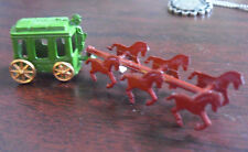 Vintage Small Metal Red Horse Drawn Carriage with Moving Wheels