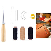 12Pcs/Set Leather Craft Tool Waxed Thread Cord Sewing Needles Shoe Repair Kit ly