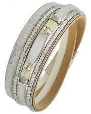 Multi Strand Leather Animal Print & Rhinestone Wrap Bracelet Magnetic Closure