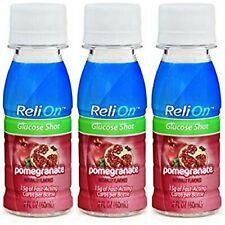 Lot of 3 ReliOn Pomegranate Glucose Shot 2 Oz Bottles Exires 2022 Drink Diabetes