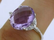 s R099 Genuine 9K White Gold Natural Amethyst & Diamond Solitaire Ring size O