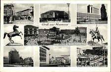 Hannover Mehrbildkarte 1955 Kröpcke Ernst August Denkmal Sachsenroß Theater u.a.