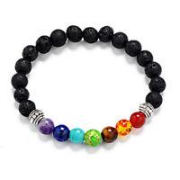 7 Mix Chakra Stone Healing Reiki Gemstone Lava Rock Crystal Beaded  Bracelet