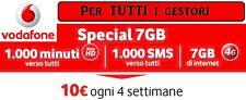 VODAFONE SPECIAL 7 GB 10 euro/mese da TIM - WIND - H3G  GESTORI VIRTUALI
