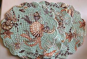 Vintage Quilted Round Seashell Placemats Set 4 Reversible Shells Beach Cottage
